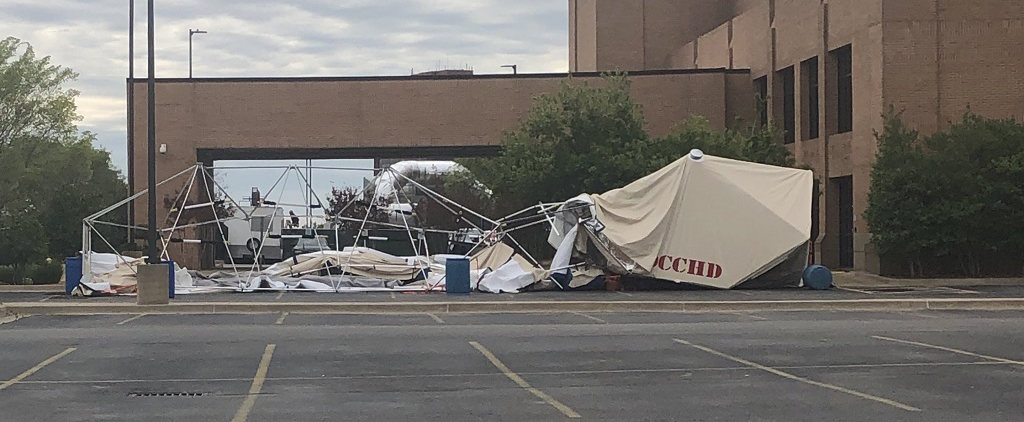 Hospital tent damaged by high winds